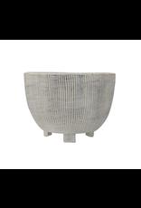 Cream Terra-Cotta Textured Footed Planter