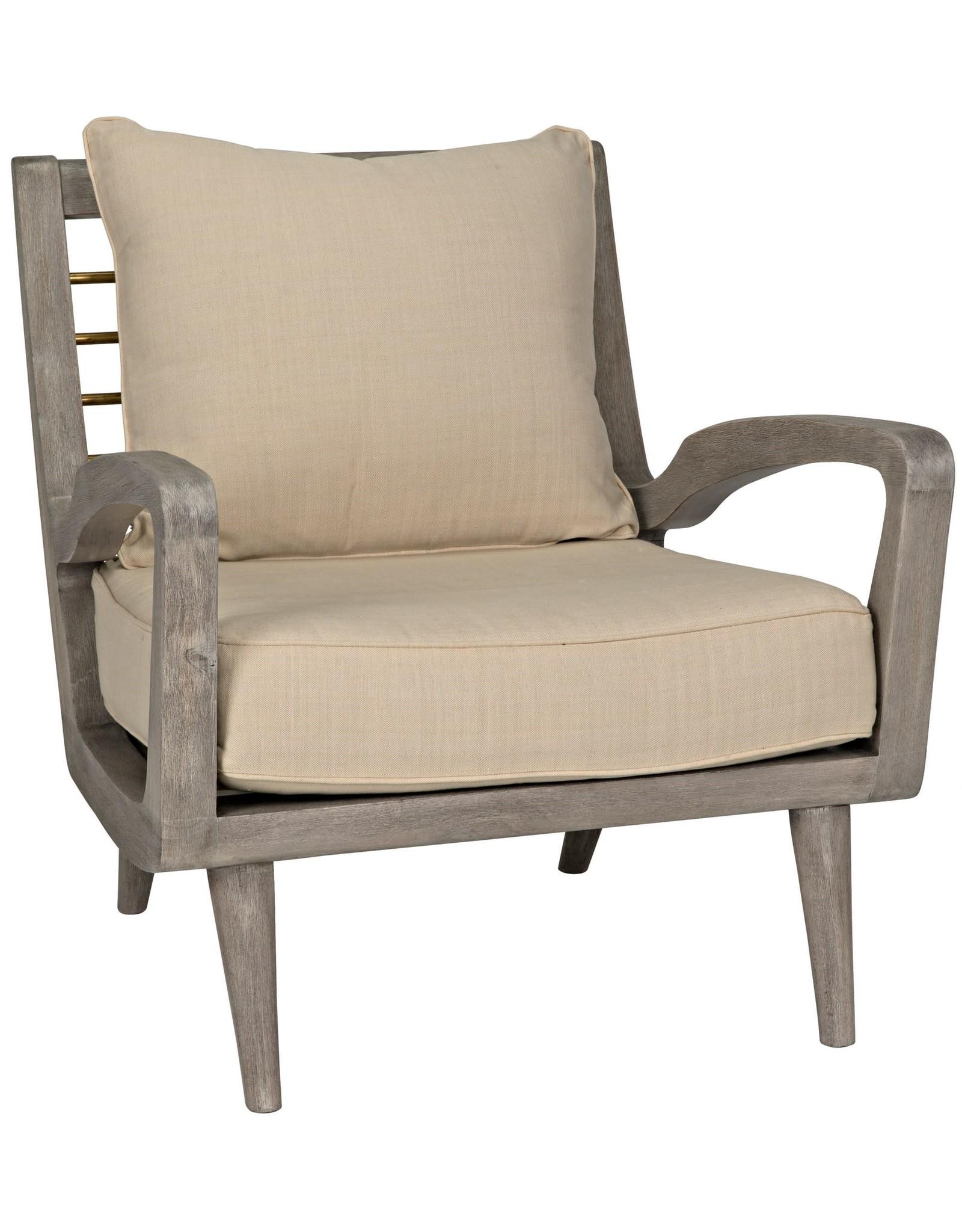 Website Noir Pearson Chair w/Brass Bars - Distressed Gray