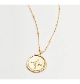 Website Compass Coin Necklace in Gold