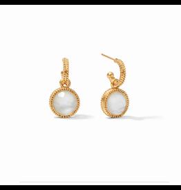 Fleur-de-Lis Hoop & Charm Earring - iridescent clear crystal