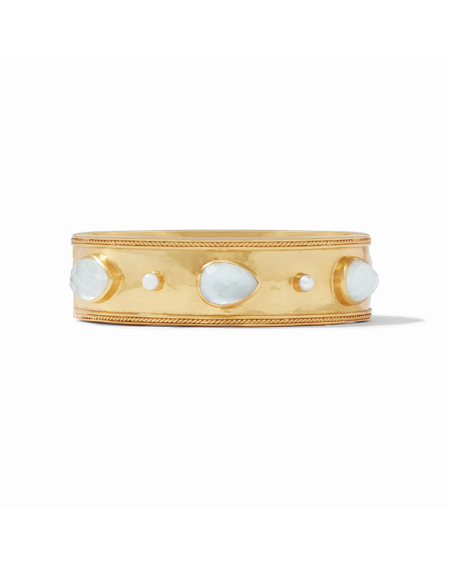 Cassis Statement Hinge Bangle - iridescent clear crystal