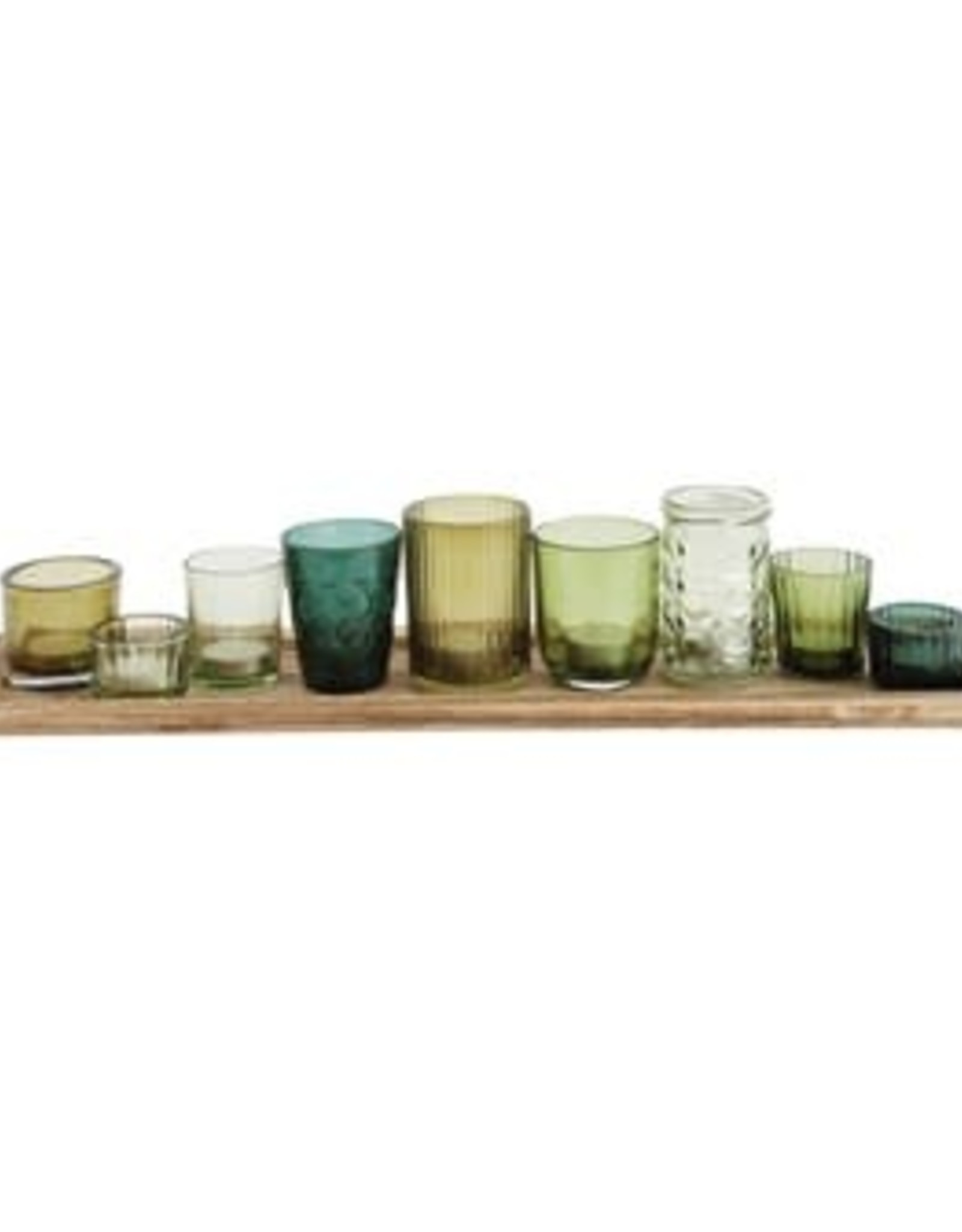 Website *Wood Tray with Glass Votive Holders