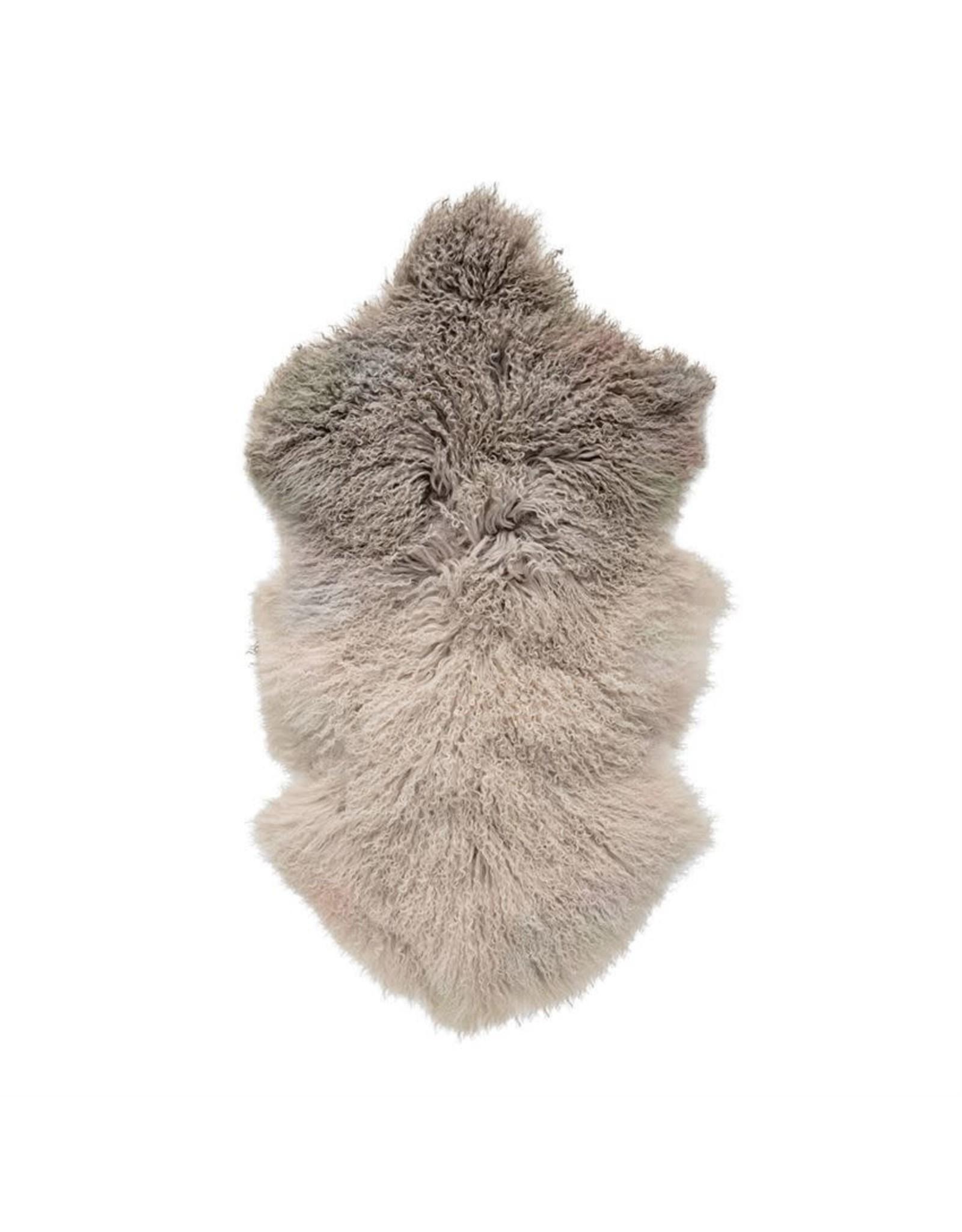 Website Dip Dye Stone/Off White Tibetan Lamb Fur