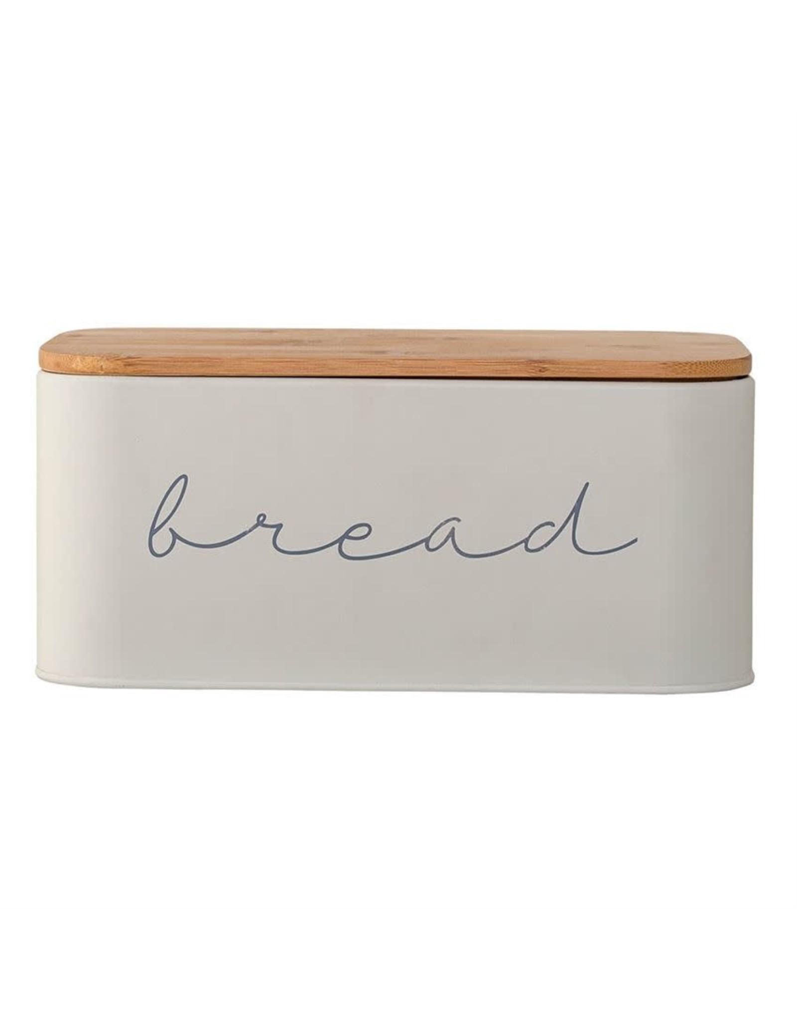Website Metal Bread Bin w/ Bamboo Lid in Grey