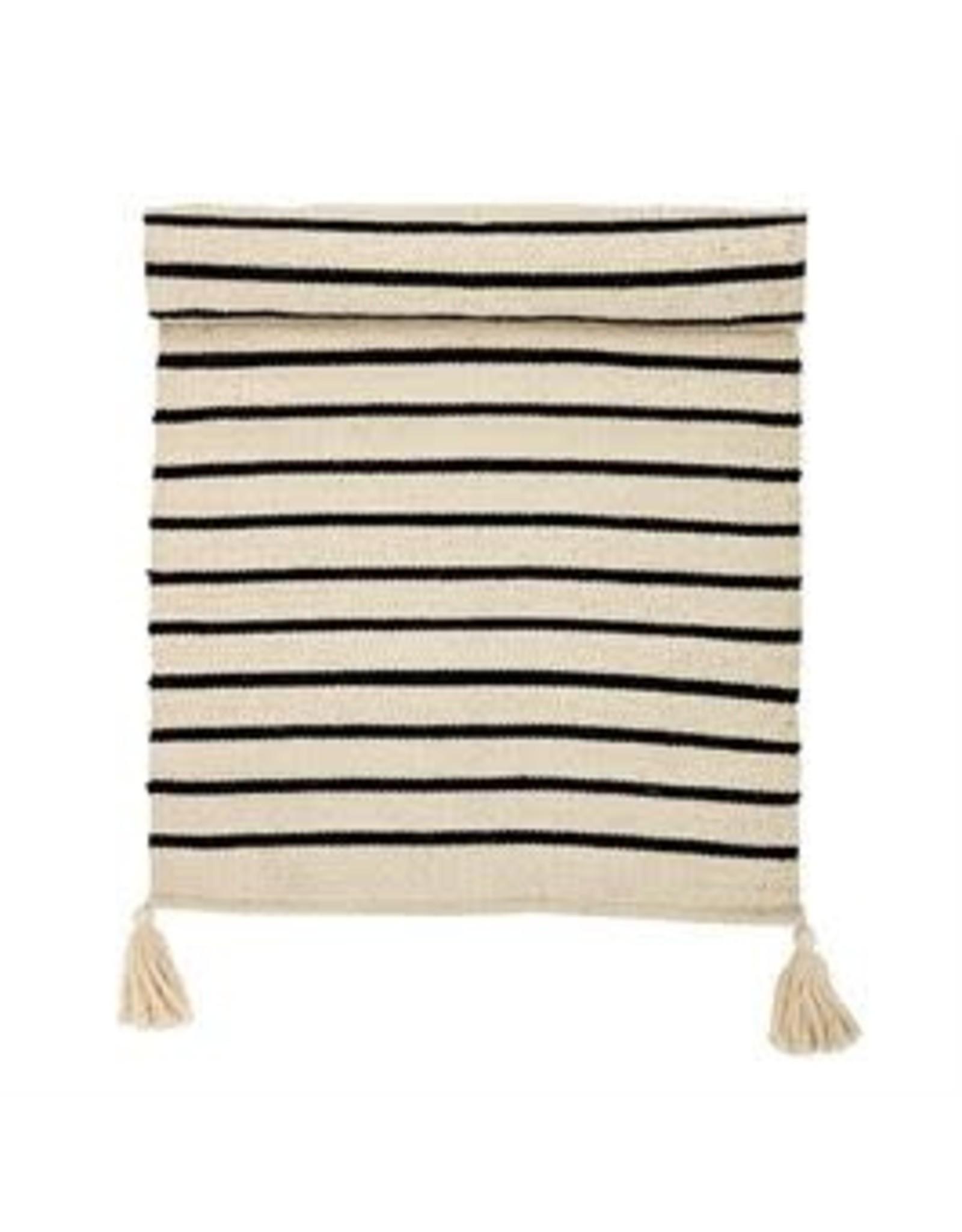 Website Cotton Rug, Cream w/ Black Stripes