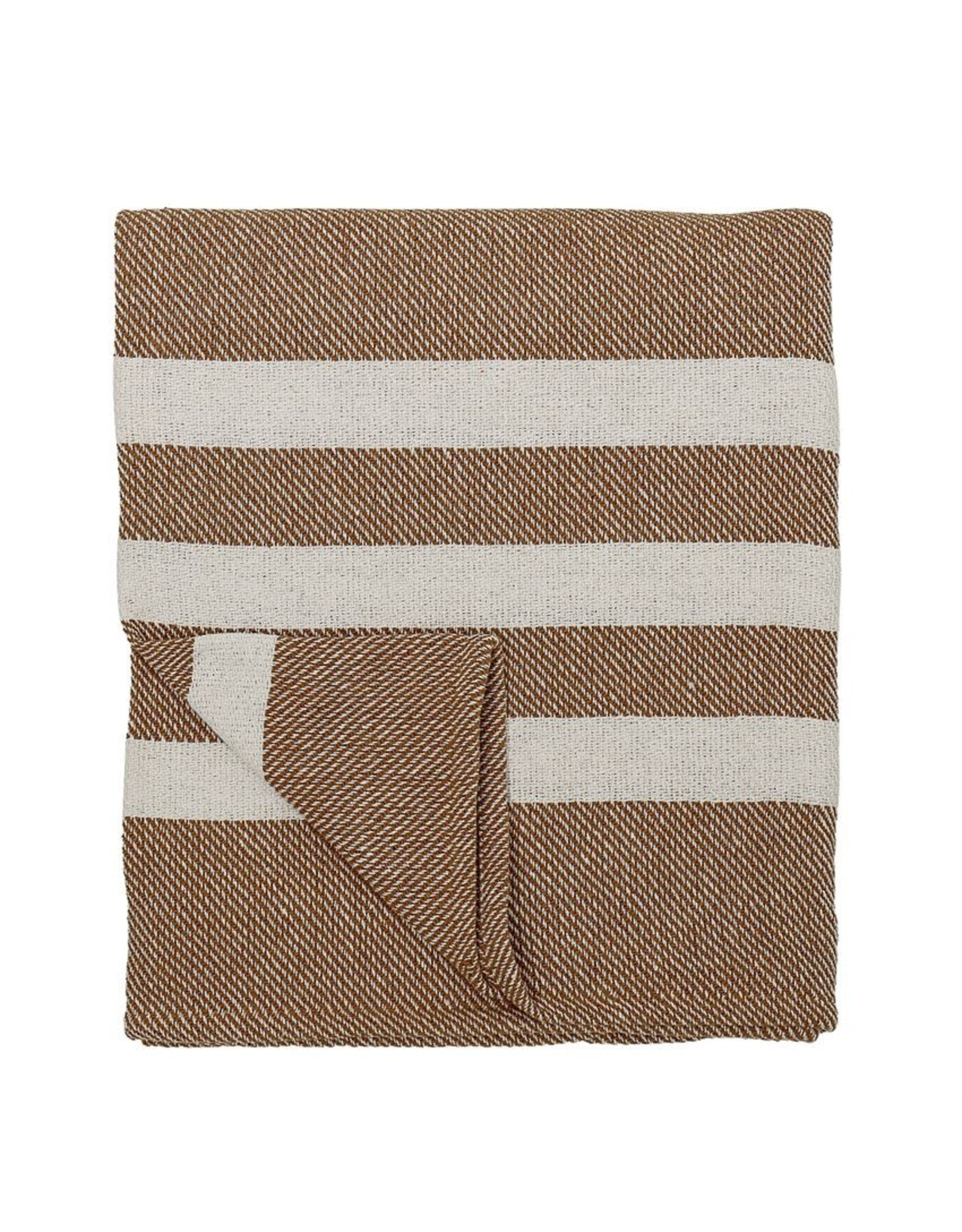 Website Recycled Cotton Knit Throw, Rust w/ White Stripe