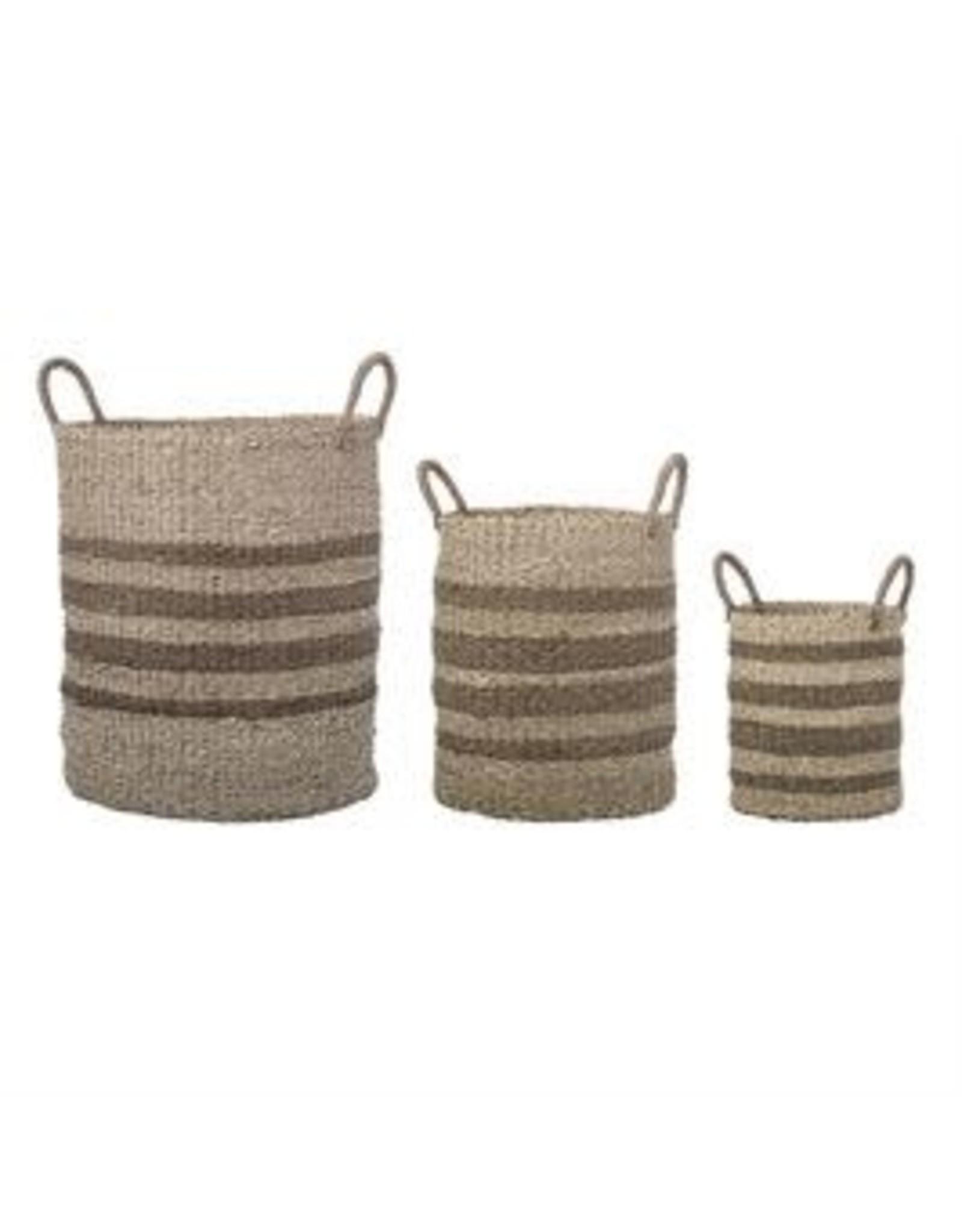 Website Natural Seagrass & Palm Baskets w/ Stripes & Handles, Set of 3