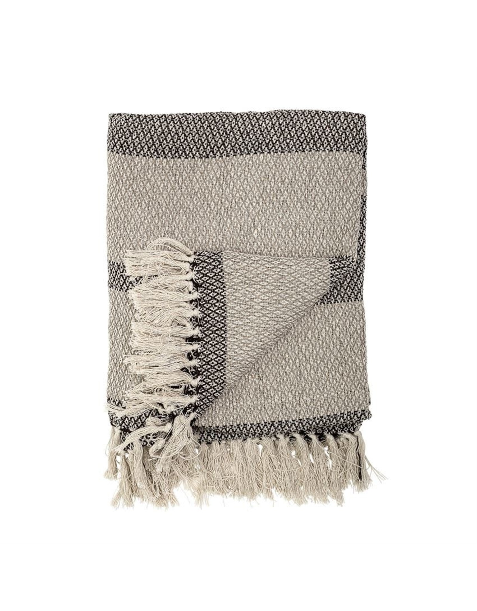 Website Recycled Cotton Blend Knit Throw w/ Fringe & Stripe