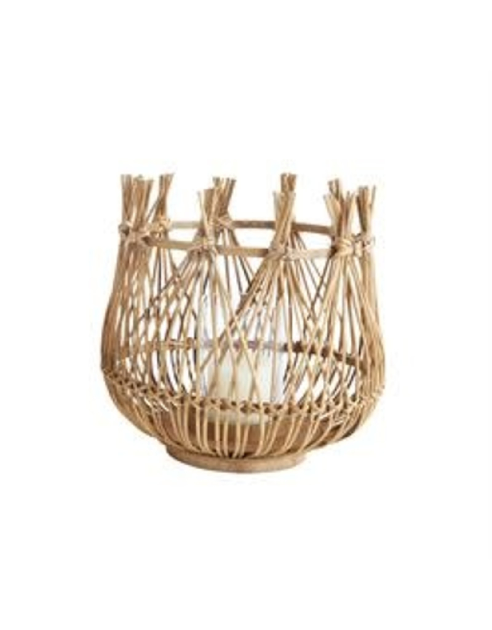 """Website 12-1/2""""H Bamboo Candle Holder w/ Glass Insert"""