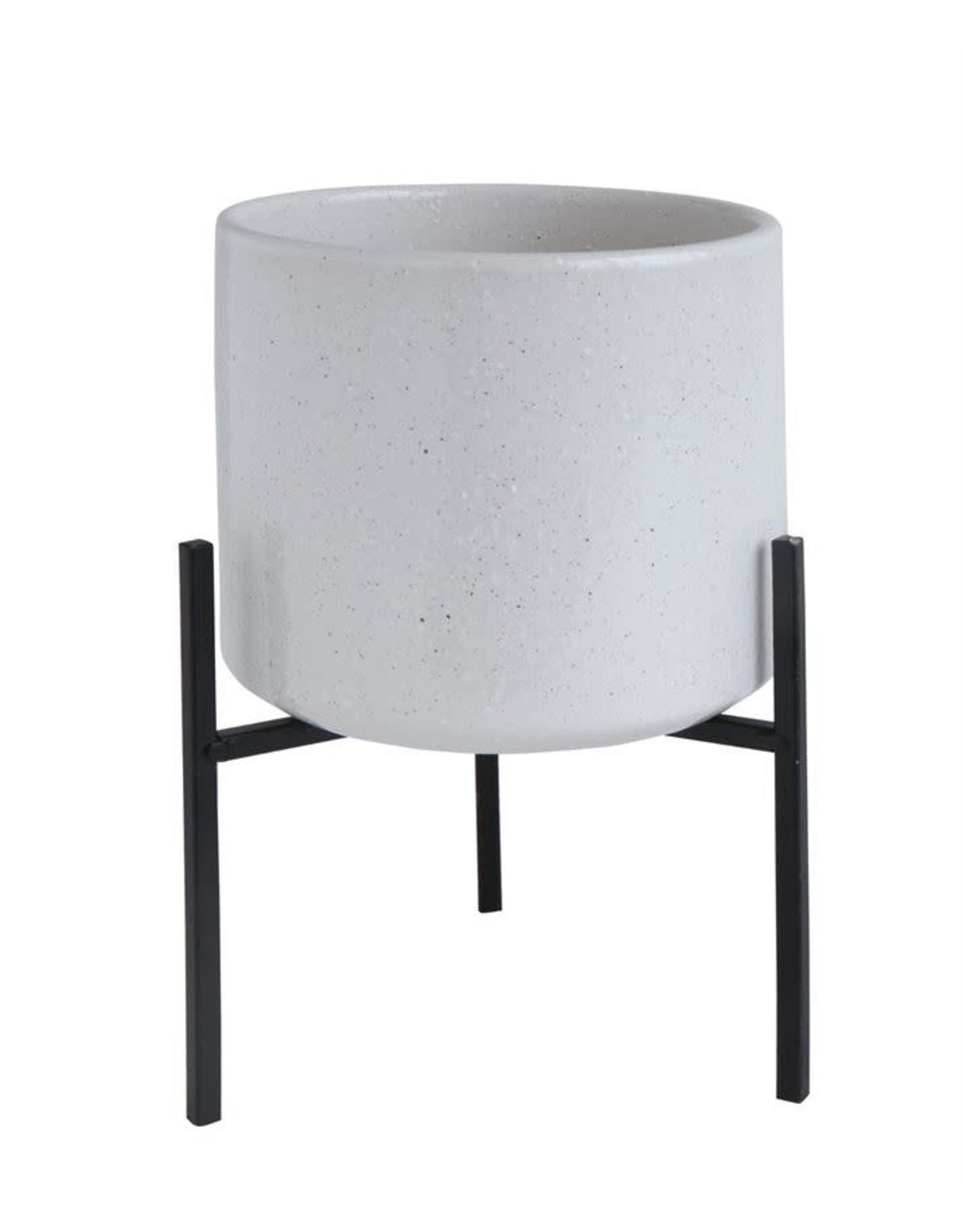 "Website 8-1/4""H Stoneware Flower Pot w/ Metal Stand"