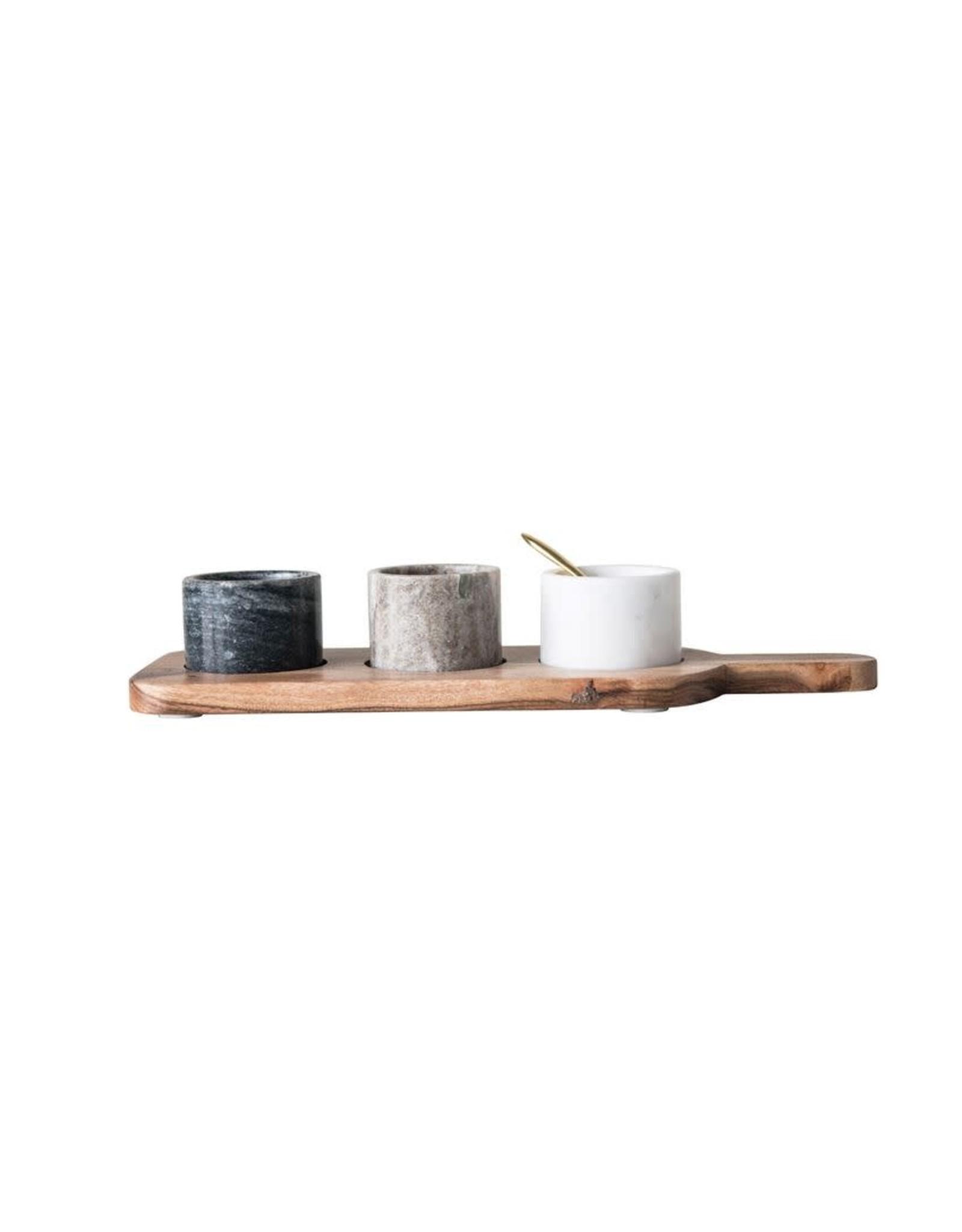 Website Acacia Wood Board w/ 3 Marble Pinch Pots & Brass Spoon, Set of 5