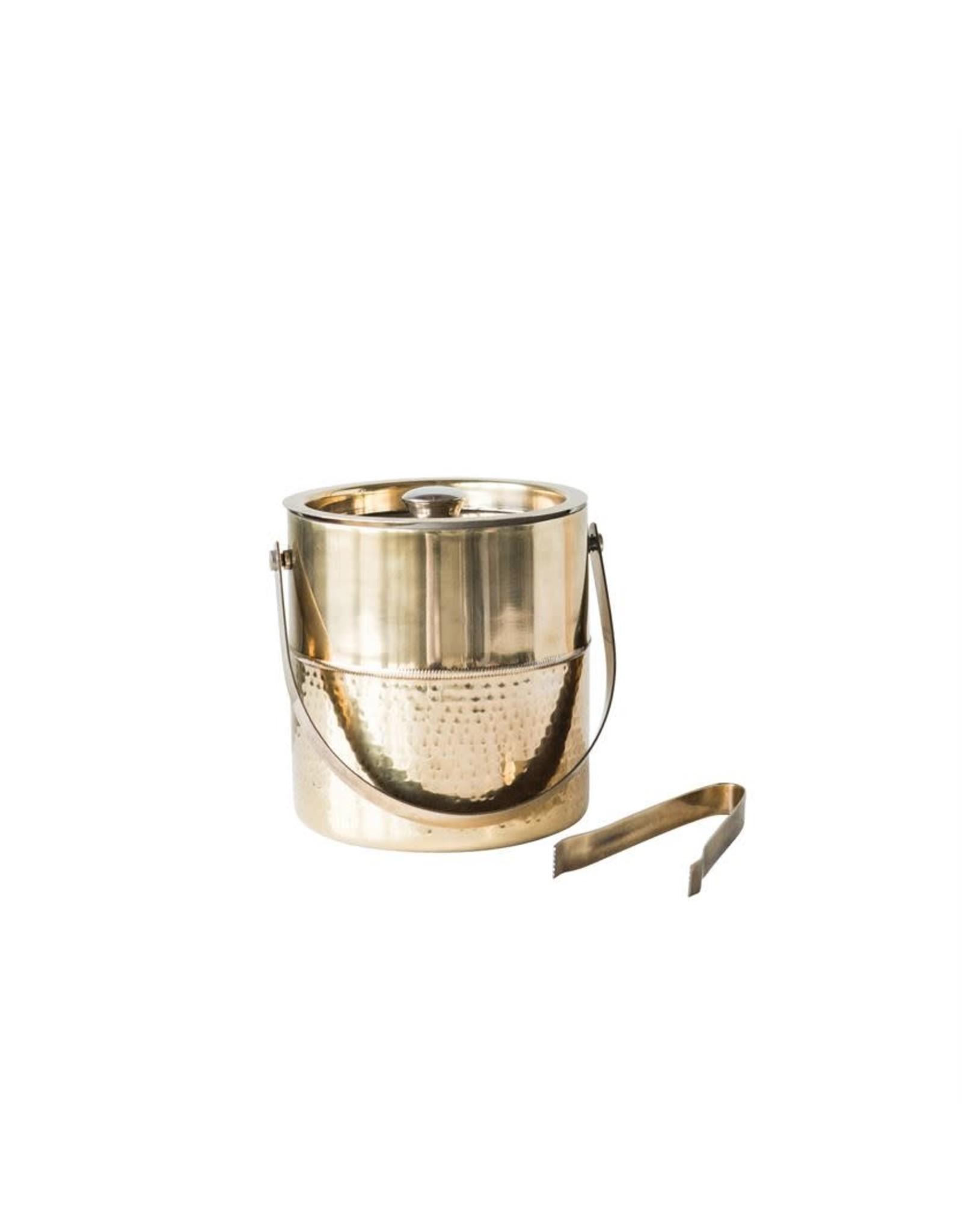 Website Stainless Steel Ice Bucket w/ Tongs, Brass Finish