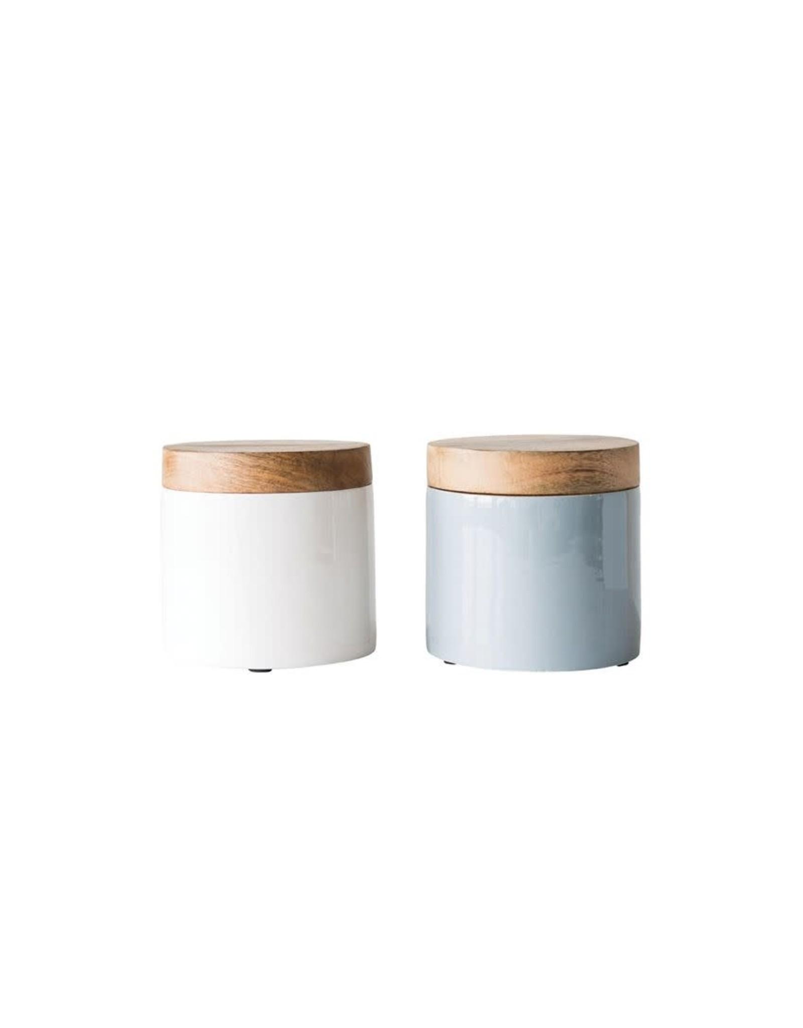 Website Enameled Mango Wood Canister, 2 Colors