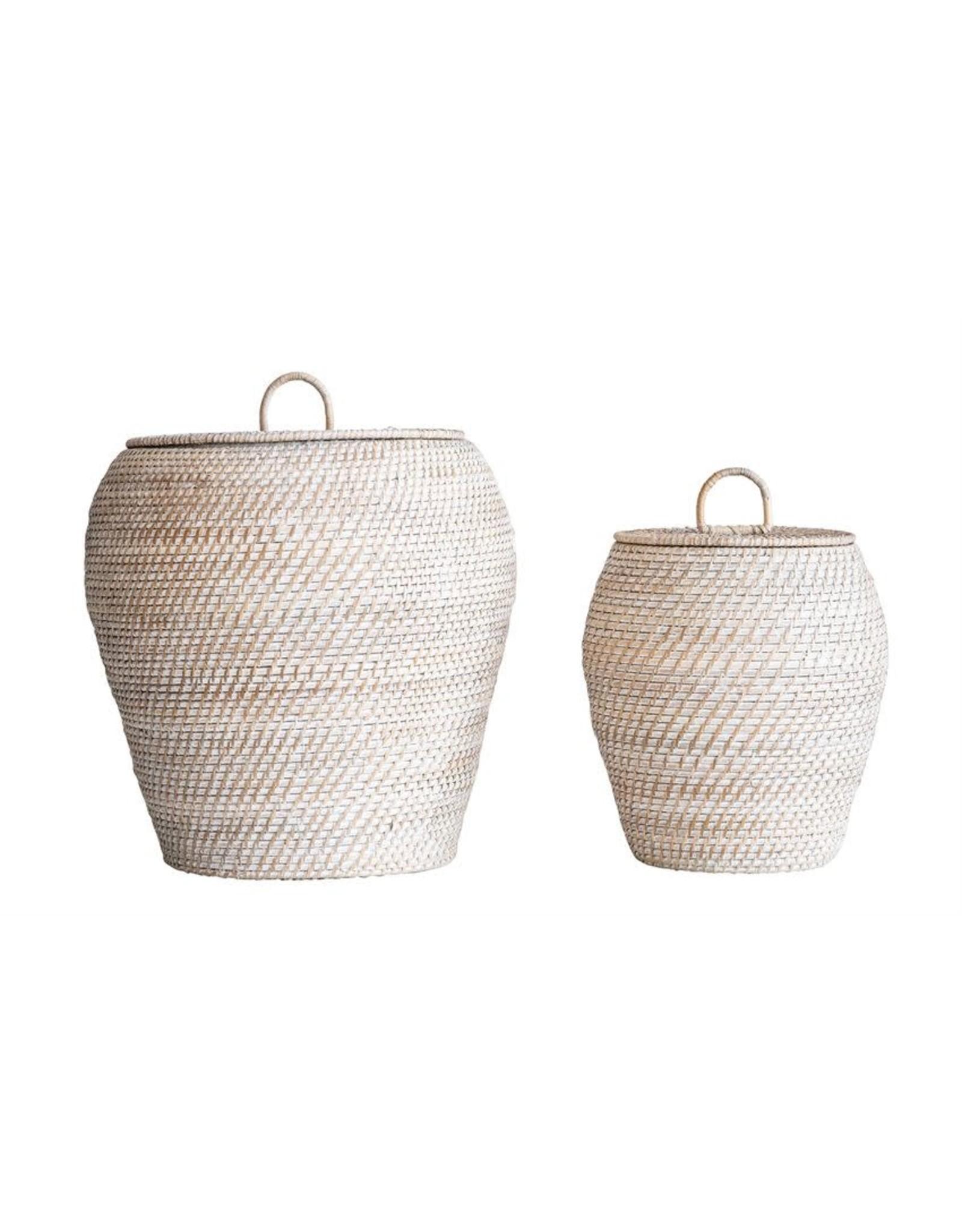 Website Whitewashed Rattan Basket Set with Lids