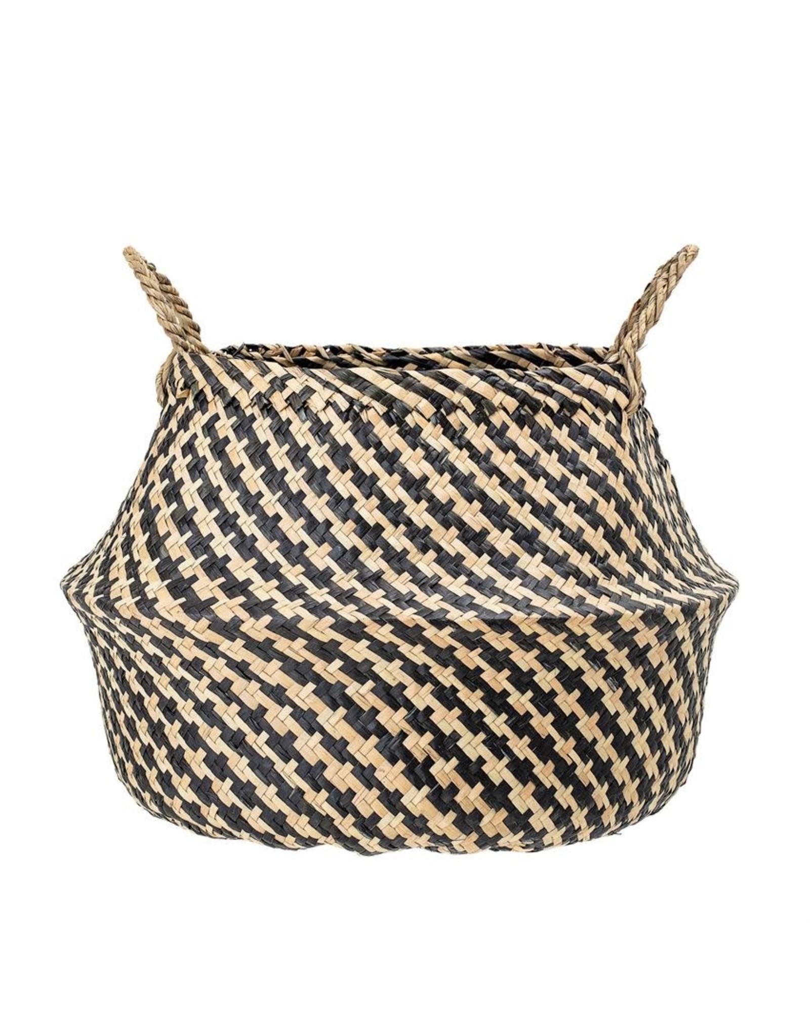 Website Natural Seagrass Houndstooth Basket w/ Handles, Black & White