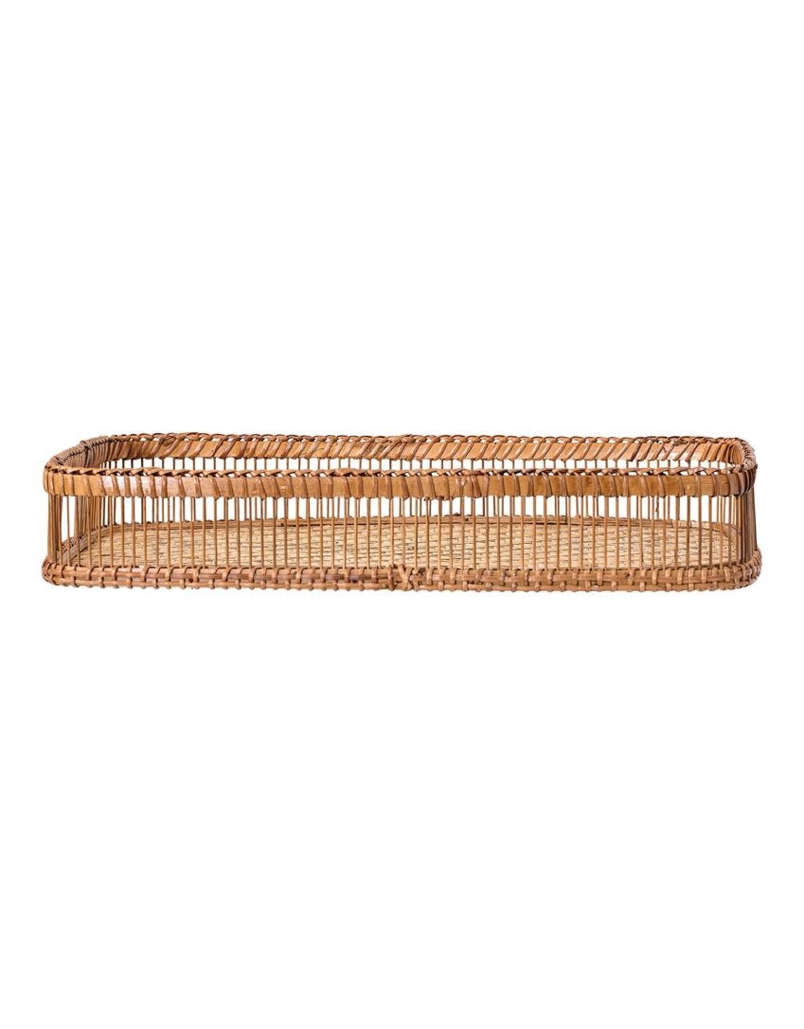 Website Decorative Bamboo Tray w/ Handles, Natural