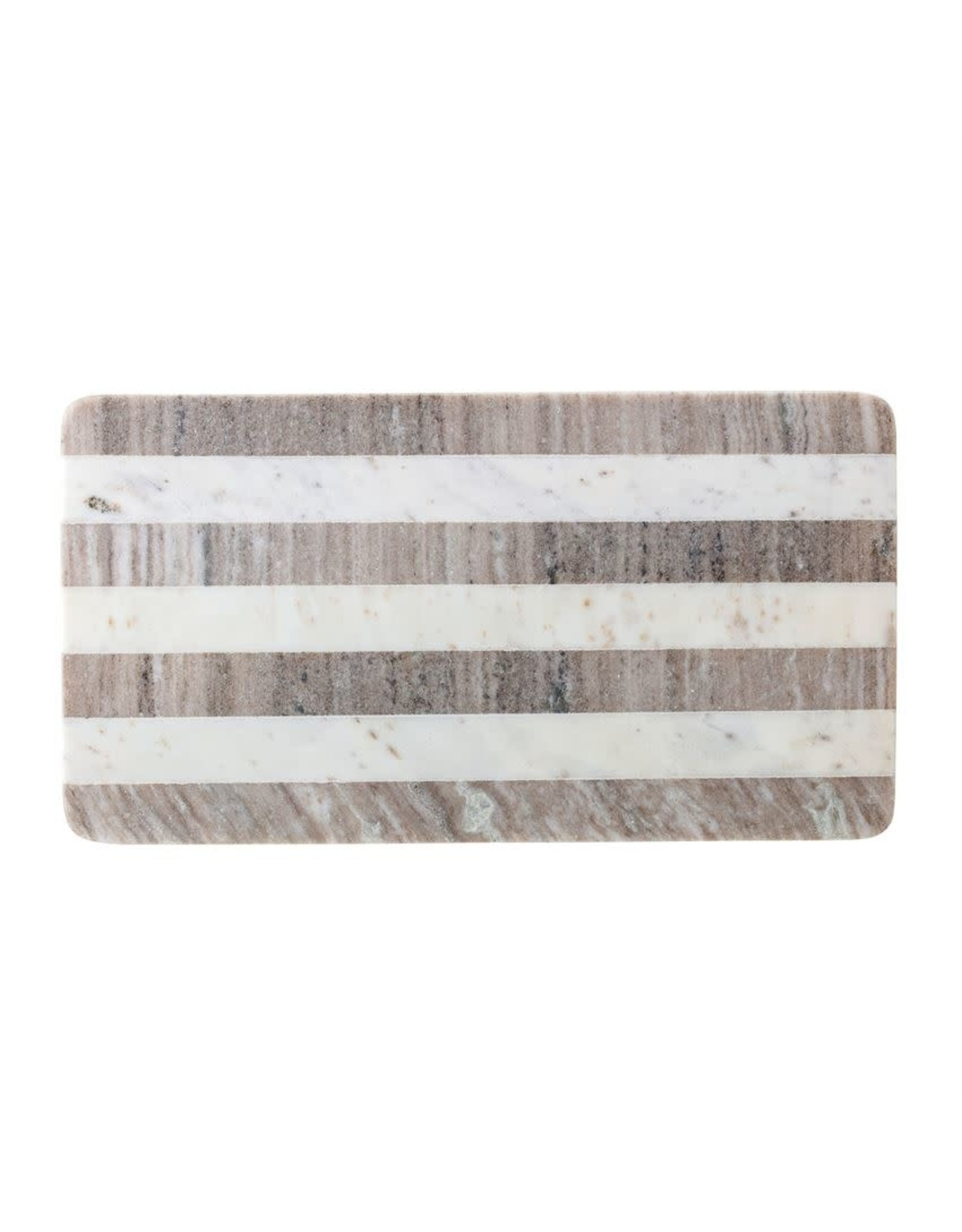 Website Marble Tray/Cutting Board, Buff & White Stripe