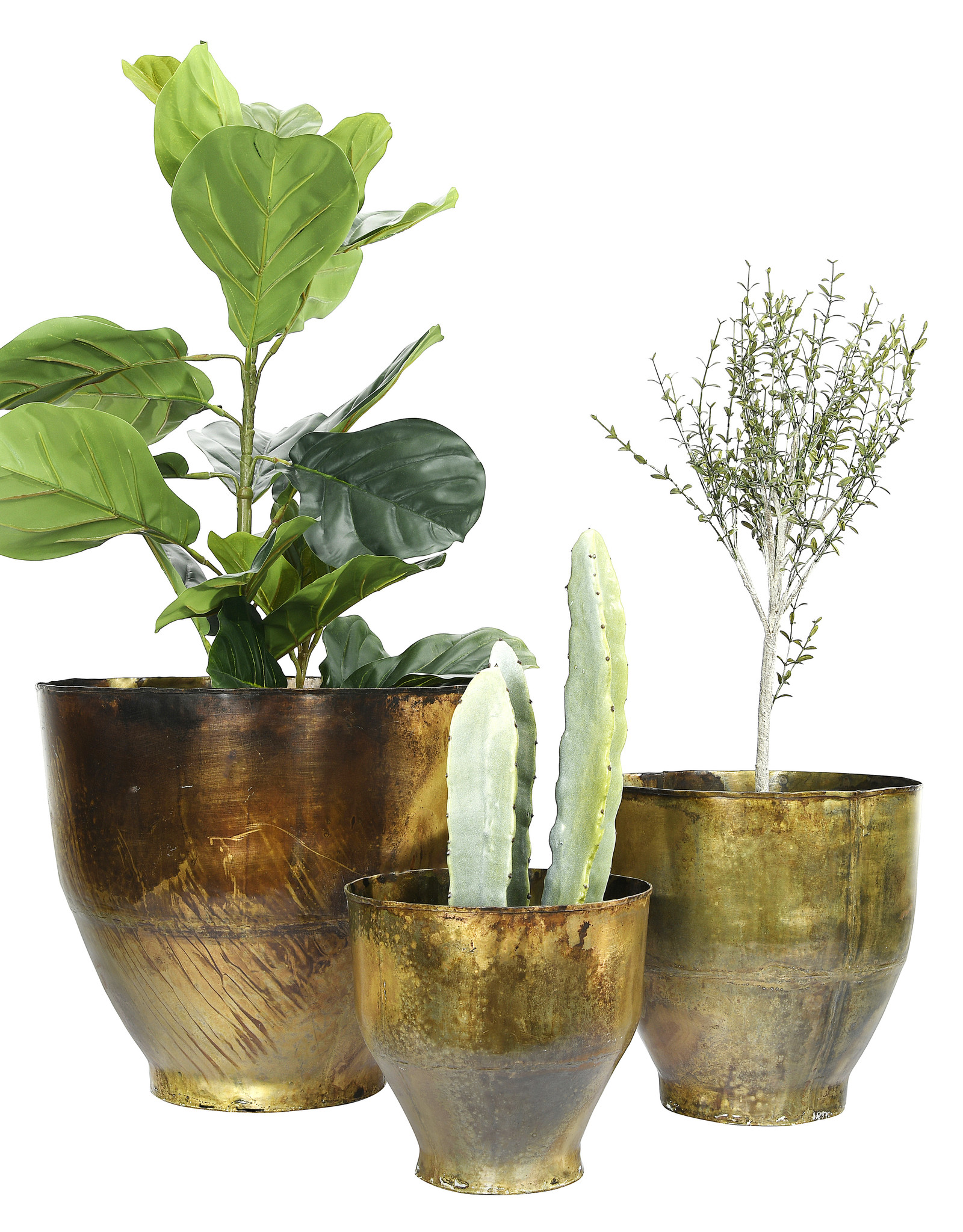 Website Antique Brass Metal Planter Set