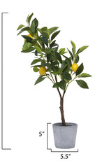 """Website 28"""" Faux Lemon Tree in Cement Pot"""
