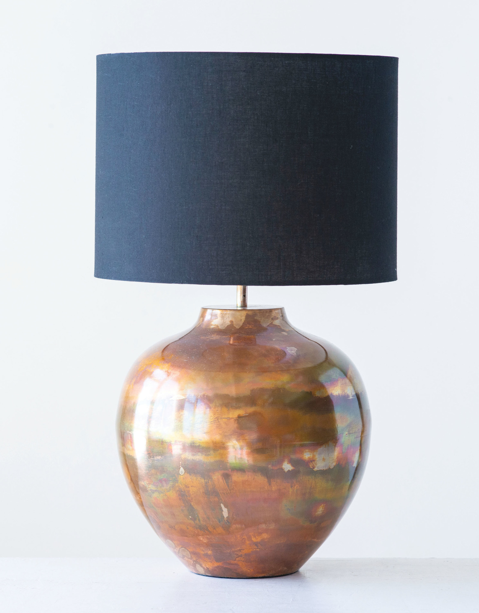 Website Copper Table Lamp with Black Shade