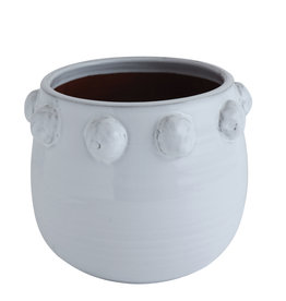 Website White Terra-Cotta Planter with Raised Dots