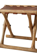 Website Mango Wood & Leather Folding Stool