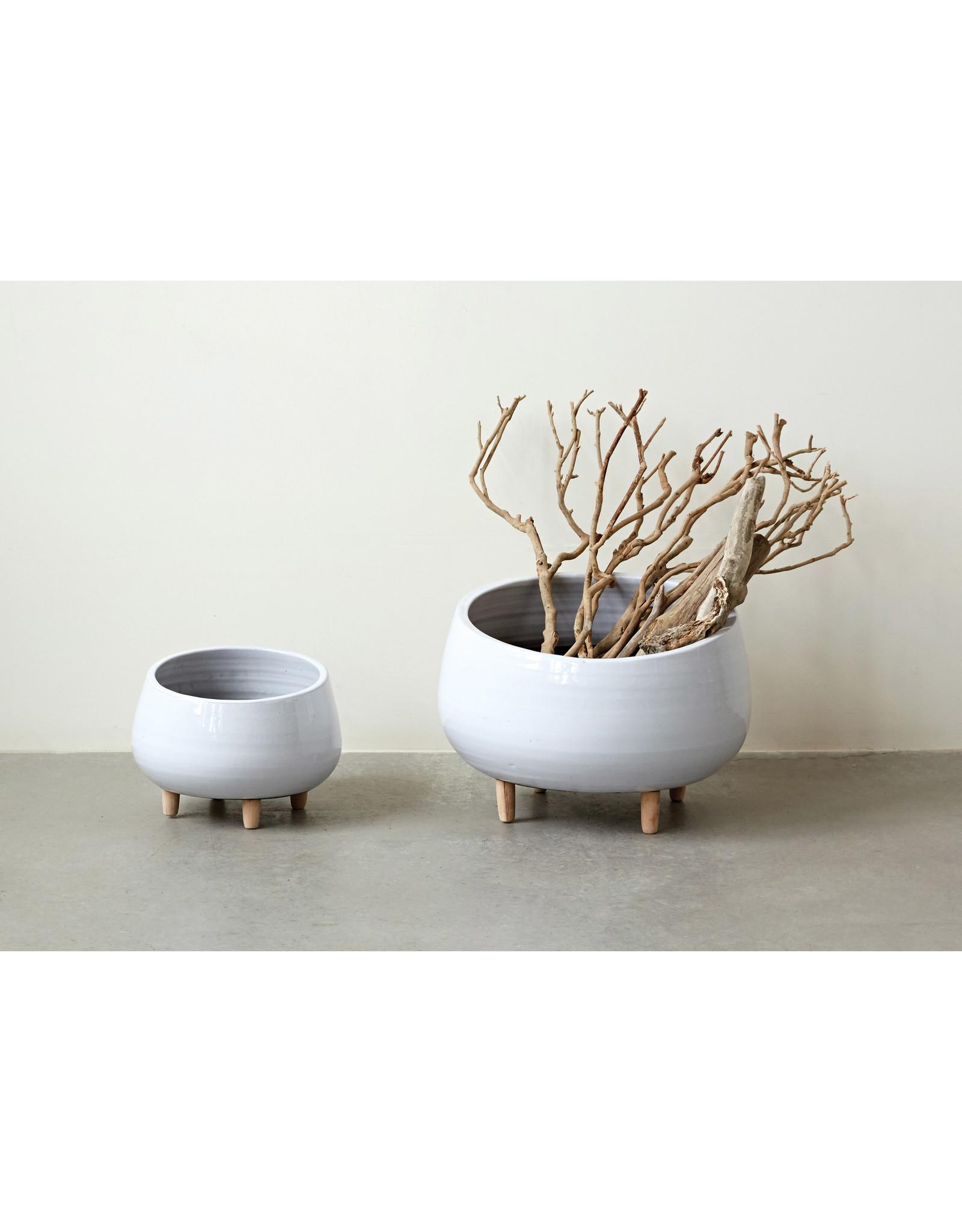 Website White Ceramic Planter w/ Wood Feet