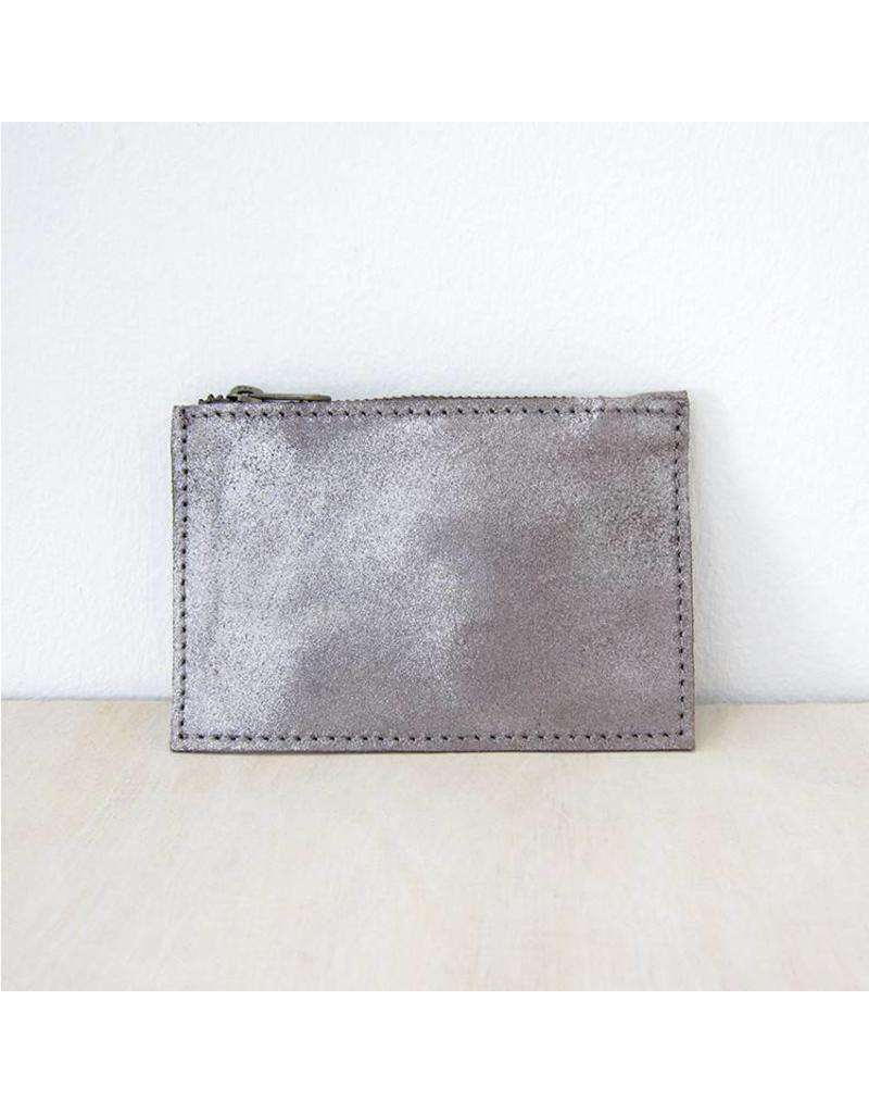 Pewter Metallic Leather Pouch