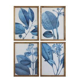 Blue Botanicals Wood Framed Print