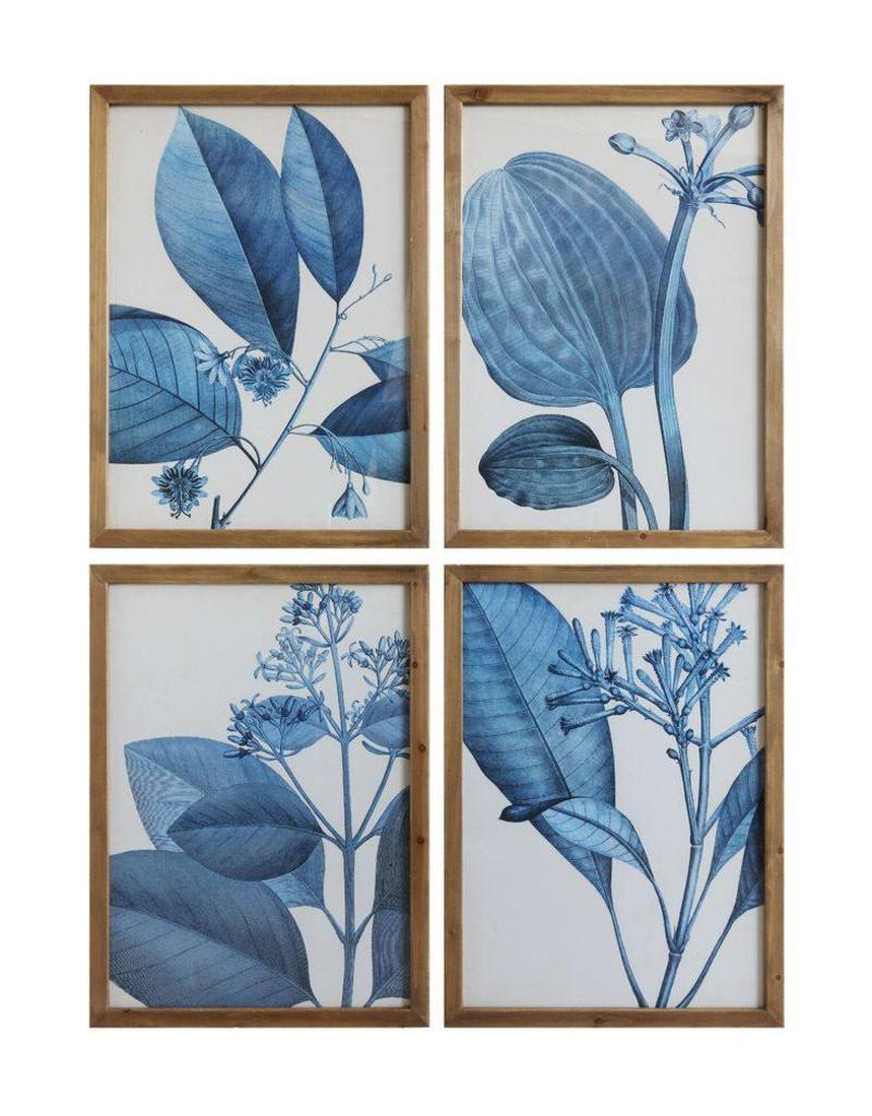 Blue Botanicals Wood Framed Print