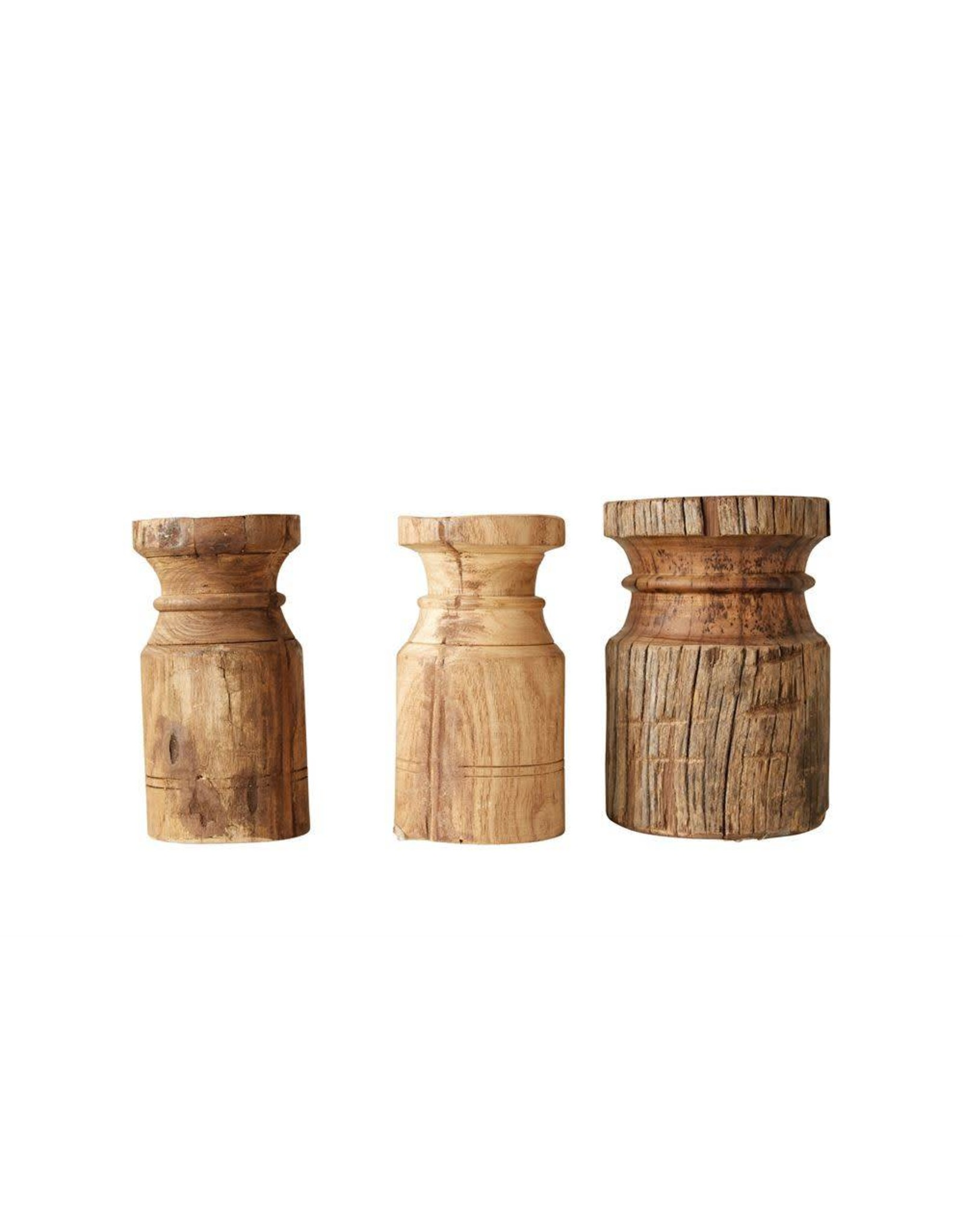 Found Wood Carved Pillar Holder
