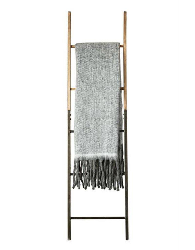 Grey Mohair & Acrylic Throw