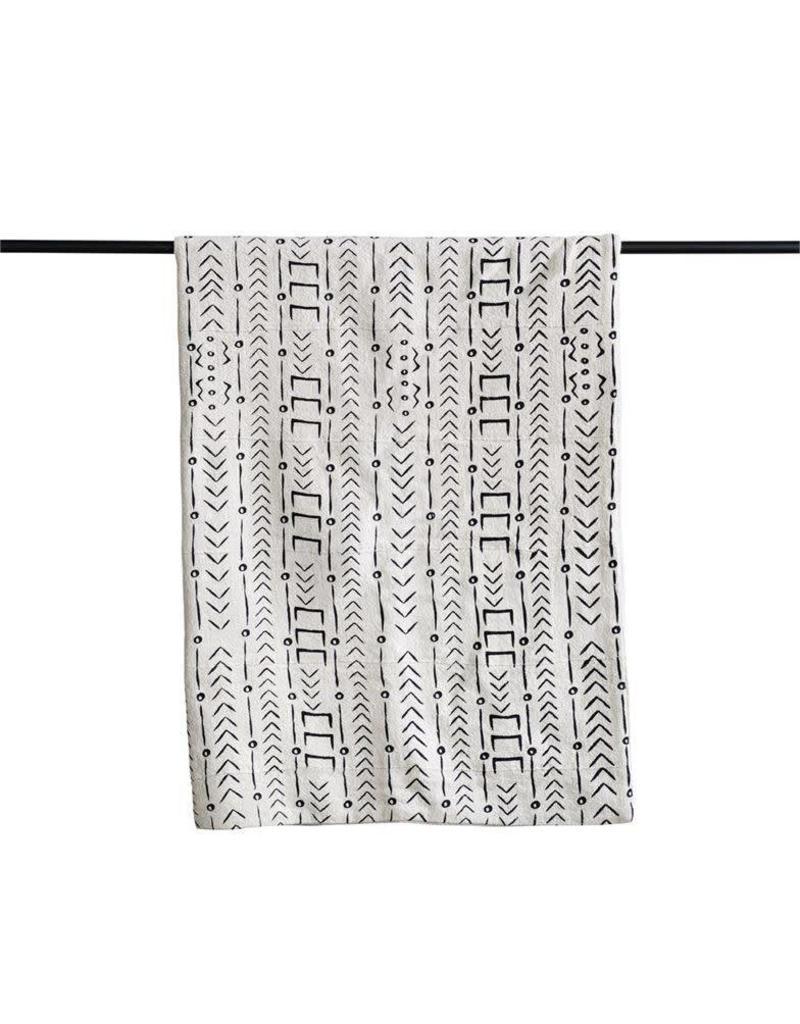 Mudcloth Pattern Cotton Throw