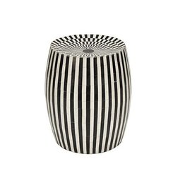 Display Cylinder Stool in Black & Off White Bone