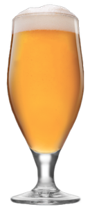 A pokal beer glass filled with an India style red ale like 21st Amendment Toaster Party.
