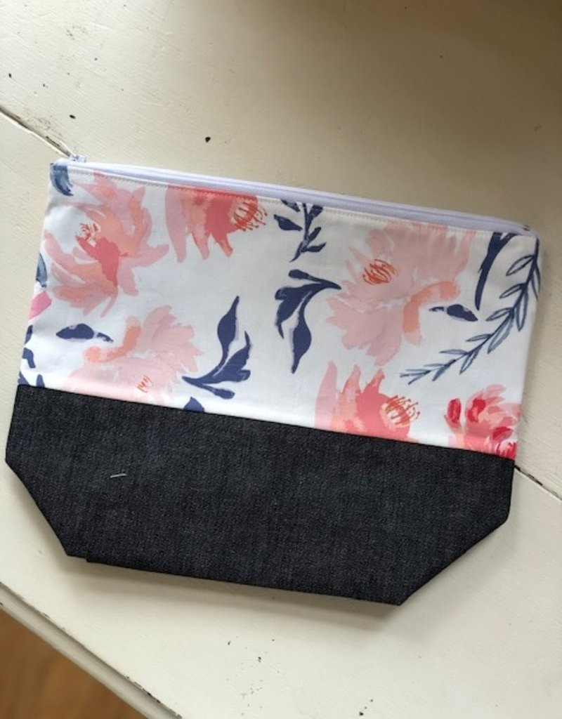 Joy In The Stitches Large Zipper Bag Blue/Pink Floral