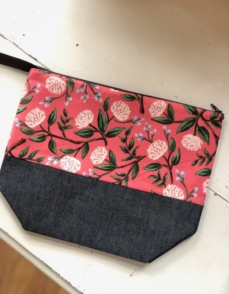 Joy In The Stitches Large Zipper Bag Coral Floral