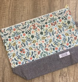 Joy In The Stitches Large Zipper Bag Blue Floral