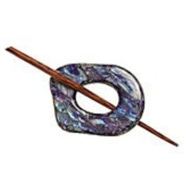 Navy Shell Shawl Pin