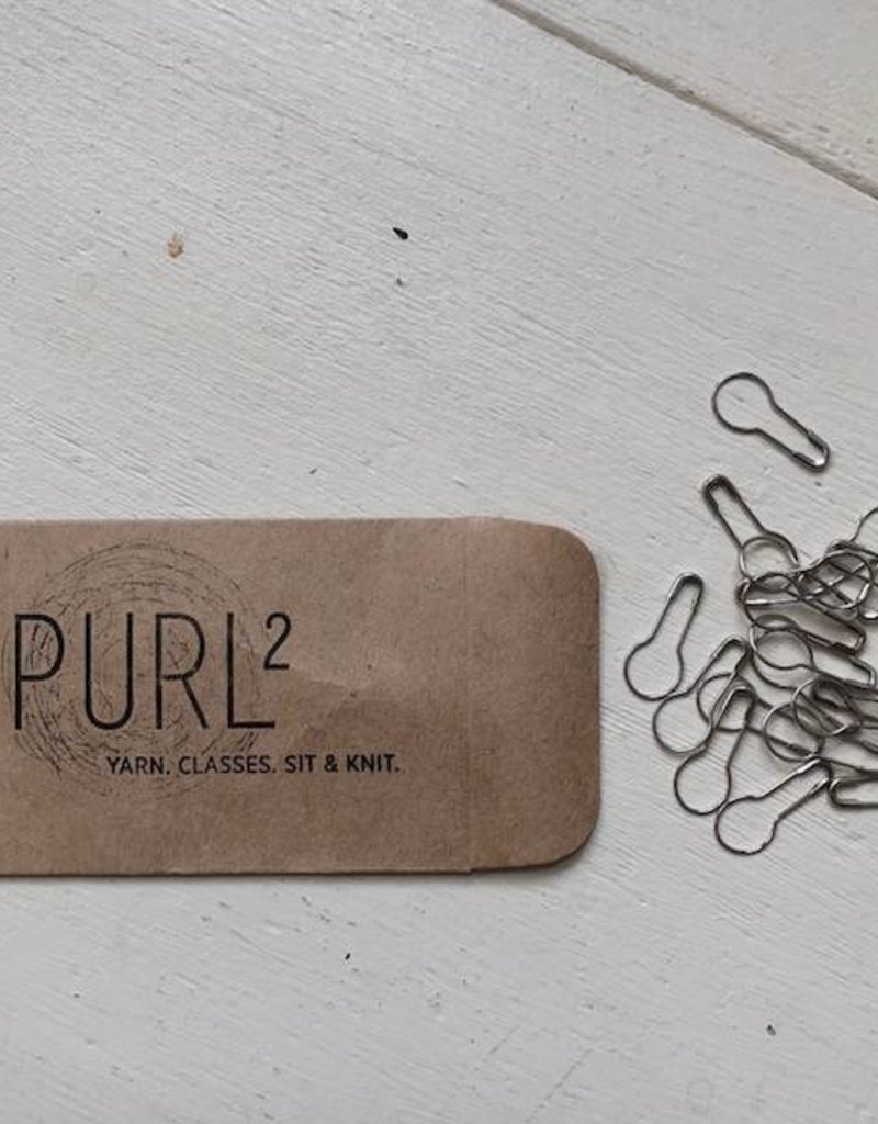 purl2 Removable Bulb Stitch Markers, Packet of 20-Silver