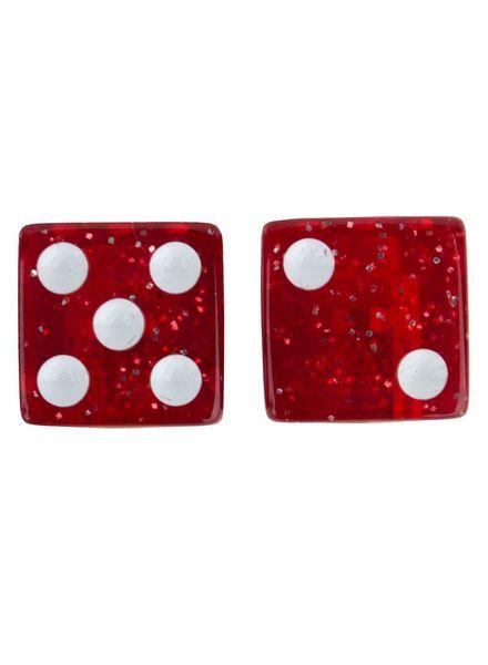 TRIKTOPZ VALVE CAPS TRIKTOPZ DICE-GLITTER RED 1pr