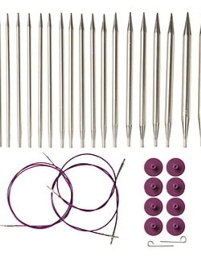 KnitPicks Ensemble d'aiguilles interchangeable Nickel 3.5 à 8 mm 90335