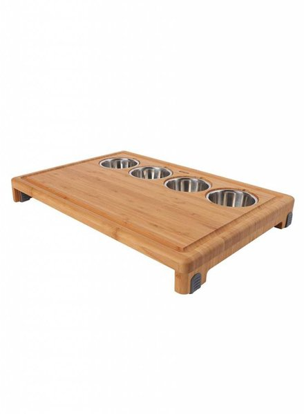 Dexas Bamboo Cutting Board with Stainless Steel Bowls