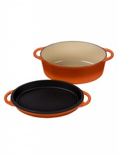 Le Creuset Oval Oven with Grill Pan Lid 4.75 qt