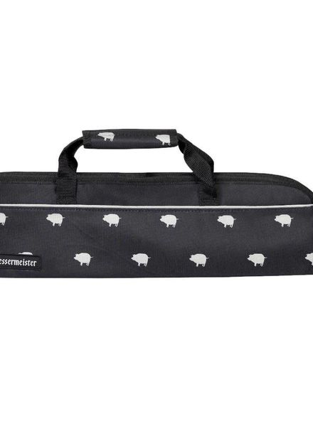 Messermeister Pig Print 5 Pocket Knife Roll - Black