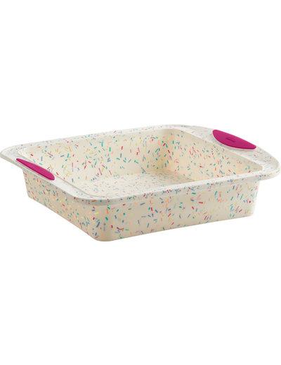 Trudeau White Confetti Square Cake Pan 8x8