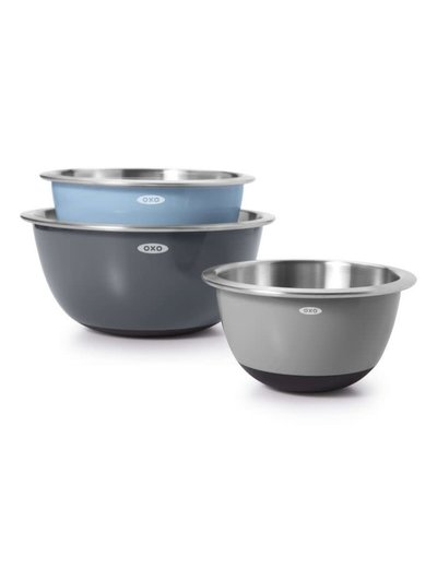 OXO 3 Piece Stainless Steel Mixing Bowl Set
