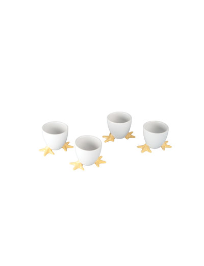 BIA Set of 4 Yellow Chicken Footed Egg Cups