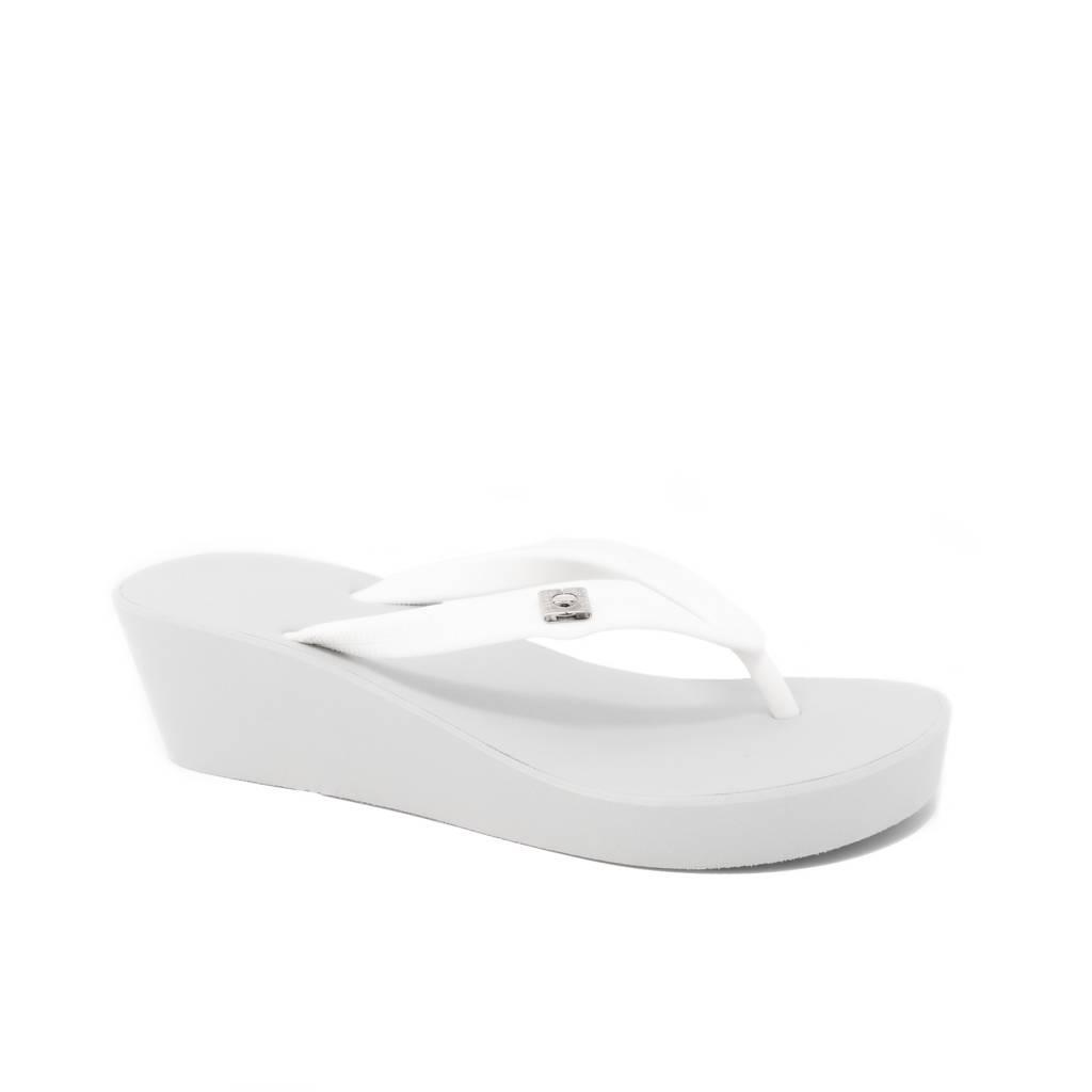 1cd4db785749 Two Tone Medium Heel Wedge Silver White - Popits Hawaii