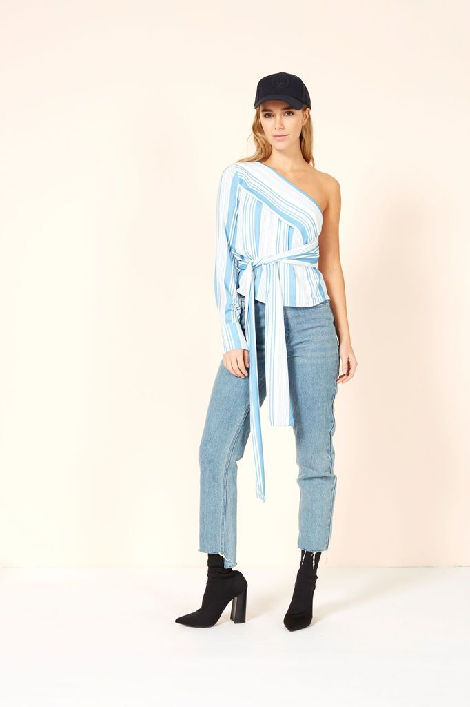 Mink Pink Stripe one shoulder tie
